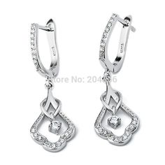 Find More Stud Earrings Information about GNE0468 Wholesale White zircon Earrings 34.9*11.6mm, Fashion 925 sterling silver Zircon Earrings Jewelry for women,High Quality Stud Earrings from Elegant trade Co., Ltd. on Aliexpress.com