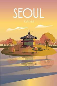 'Seoul Korea Travel Poster Printable Wall ' Photographic Print by Caravanstudio Seoul korea Illustration Travel poster art print Poster Retro, Poster Art, Kunst Poster, Art Deco Posters, Vintage Travel Posters, Poster Prints, Vintage Ski, Art Prints, Japon Illustration