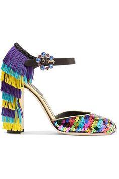 Dolce & Gabbana - Embellished Leather Mary Jane Pumps - Purple - IT36.5