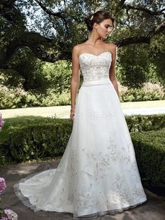 Ageless Tulle A line Dropped Waist Sweetheart Floor Length Wedding Dress - 1300103209B - US$249.99 - BellasDress