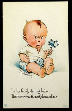 Artist-Signed Charles Twelvetrees BABY Family Darling 1917 Antique Postcard