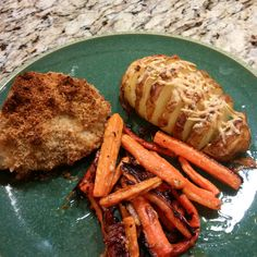 Parmesan-Garlic Chicken with Parmesan Hasselback Baked Potatoes and Parmesan Herb Carrot Fries Carrot Fries, Garlic Chicken, Parmesan, Baked Potato, Dinner Ideas, Carrots, Sausage, Potatoes, Herbs
