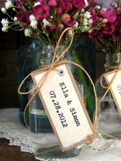 Unique Wedding Favor, Bridal Shower Favor - Bride & Groom Names w/ Wedding Date - Rustic, Vintage-Inspired, Natural. $5.00, via Etsy.