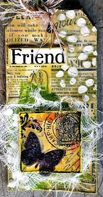 Tag by Belinda Spencer using Darkroom Door Butterfly Post Collage Stamp and Gazette Background Stamp.