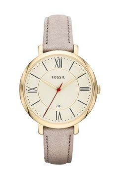 Fossil 'Jacqueline' Round Leather Strap Watch