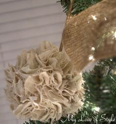 twill pom ornament1 280x300 DIY Rustic Pom Ornaments