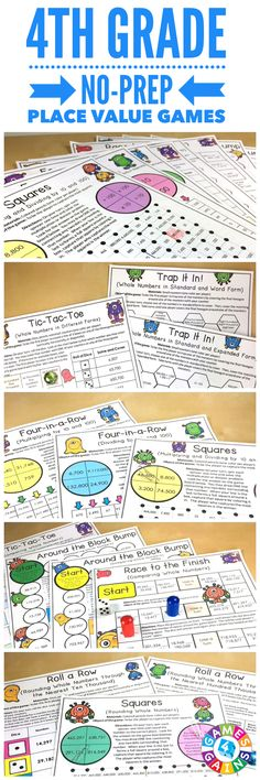 "Place Value Games for 4th Grade contains 13 fun and engaging printable board games to help students to practice reading, writing, comparing, and rounding multi-digit whole numbers. ""FUN! FUN! FUN! Thanks for the great review, practice, and center work!"""