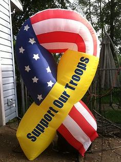 Airblown Inflatable Support Our Troops Ribbon 4th Of July