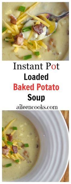 So good! Instant Pot Potato Soup loaded with yukon gold potatoes, bacon, half and half, 2 different kinds of cheeses, and topped with green onions. Easy to make in the instant pot electric pressure cooker. soup recipes. instant pot recipes. baked potato soup recipes. Recipe from aileencooks.com.