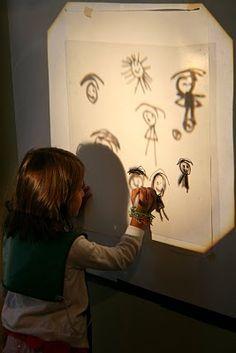 Dibujan en un papel a parte la imagen creada con los objetos puestos en el retroproyector.