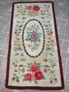 1930 Hand Hooked Wool Rug from Violet64 on etsy