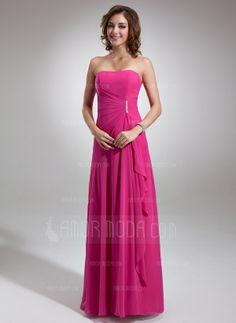 A-Line/Princess Sweetheart Floor-Length Chiffon Bridesmaid Dress With Ruffle Beading (007001085)