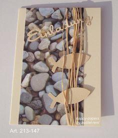 Einladungskarten - Einladung Kommunion Konfirmation rustikal Steine - ein Designerstück von happy-papers bei DaWanda