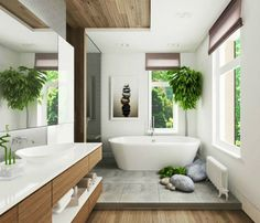 elegant modern zen bathroom with statement art photography natural wood and lush green plants