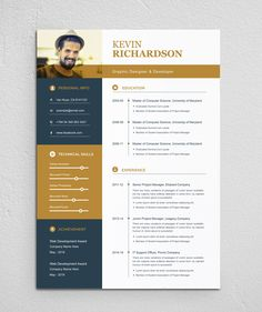 Clean & Modern Resume/cv template to help you land that great job. The flexible page designs are easy to use and customize, so you can quickly tailor-make your resume for any opportunity. Cv Resume Template, Resume Design Template, Creative Resume Templates, Resume Cv, Resume Ideas, Kevin Richardson, Cv Digital, Portfolio Web, Portfolio Design