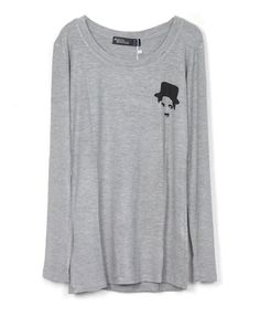 Gray Long sleeves T-shirt with Chaplin Print