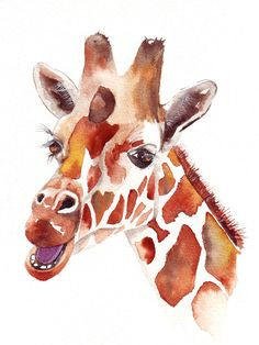 Giraffe Original Watercolor. Love this style of paint!