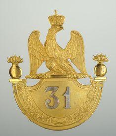 PLAQUE DE SHAKO D'OFFICIER DE GRENADIER DU 31 ème REGIMENT D'INFANTERIE DE LIGNE, MODELE 1812, PREMIER EMPIRE.