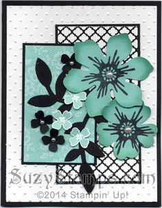 Stampin' Up! Cards - 2014-09 Class - Beautiful Bunch, I Love Lace and Pictogram Punches stamp sets, Fun Flower and Pansy Punches, Flower Frenzy Die and Perfect Polka Dots Embossing Folder