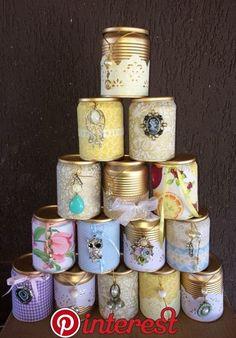 Latas decoradas: 70 ideias legais para o lar - Basteln - Tin Can Crafts, Metal Crafts, Diy And Crafts, Arts And Crafts, Recycled Tin Cans, Recycled Crafts, Mason Jar Crafts, Bottle Crafts, Painted Tin Cans
