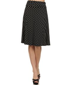 Love this Black & White Polka Dot A-Line Skirt by One Fashion on #zulily! #zulilyfinds