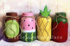 Cutie Fruity mason jar set includes 4 quart sized glass jars strawberry kiwi watermelon and pineapple twotti frutti decor Mason Jar Crafts, Mason Jar Diy, Bottle Crafts, Crafts With Jars, Pickle Jar Crafts, Mason Jar Projects, Distressed Mason Jars, Diy Hanging Shelves, Jar Art
