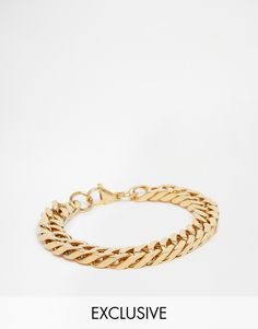 Bracelet by Reclaimed Vintage Gold-tone finish Chunky, curb chain Lobster clasp fastening Stainless steel Reclaimed Vintage, Fashion Online, Gold, Stainless Steel, Chain, Mens Jewellery, Jewelry, My Style, Bracelets