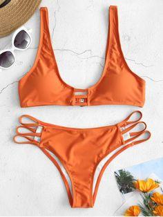 a2031ba082 ZAFUL Plunge Strappy Bikini Set - DARK ORANGE M Bikini Sets