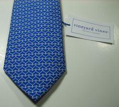 """VINEYARD VINES Custom Collection """"Natixis"""" Rich Blue White Geo Tie 100% Silk  #vineyardvines #NeckTie"""