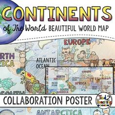 World Map - Geography Collaboration Poster Teaching Geography, World Geography, Teaching Kids, World Map Europe, Kids World Map, Continents And Oceans, Board For Kids, World Map Poster, Group Work