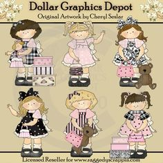 Toddler Girls - Pretty In Pink - Clip Art - $1.00 : Dollar Graphics Depot, Your Dollar Graphic Store