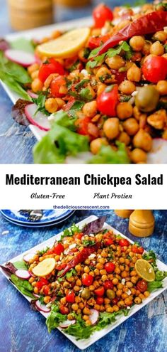 Mediterranean chickpea salad is full of delicious flavors and textures. It is healthy, filling, meatless, packed with plant protein & fiber. Lunch Recipes, Salad Recipes, Vegetarian Recipes, Healthy Recipes, Free Recipes, Bar Recipes, Mediterranean Chickpea Salad, Mediterranean Recipes, Salads For A Crowd