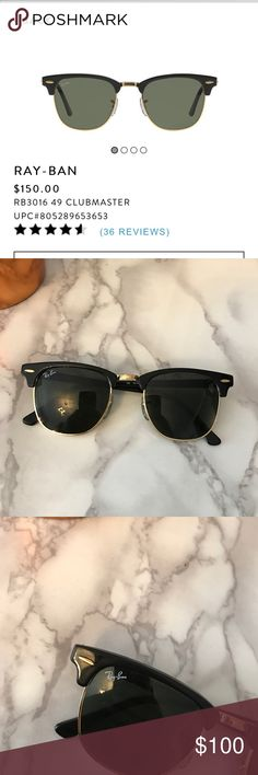 Ray ban clubmasters Like new condition, ray ban clubmasters. 100% authentic, purchased myself from sunglass hut Ray-Ban Accessories Glasses http://www.deal-shop.com/product/cat-eye-sunglasses/