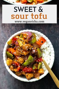 Sweet and Sour Tofu Veggie Stir Fry is as simple and easy as it gets! The tofu is baked to crisp perfection with a perfect meaty texture and the sweet and sour Asian stir-fry sauce is so delicious! A quick vegan dinner that comes together in a cinch whenever that craving for takeout hits. Tofu Veggie Stir Fry, Vegetarian Stir Fry, Quick Vegetarian Dinner, Vegan Stir Fry, Veggie Dinner, Tofu Recipes, Vegetarian Recipes, Dinner Recipes, Tofu Dishes