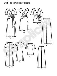 Simplicity 7481 Wickelkleid mit Raglanärmel - weite Hose