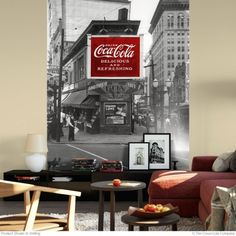 Murals apply and remove easily without harming walls while adding a cool vintage look to any room. The Drink Coca-Cola 1930 Billboard Wall Mural is made in the USA and shipped in sections for easier application. Retro Living Rooms, Living Room Decor, Wall Mural Decals, Wall Art, American Drinks, Coca Cola Decor, Wall Borders, Lunch Room, Metal Panels