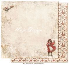 """Maja Design - I Wish Collection - 12""""x12"""" Double Sided Cardstock - Santa will remember me"""