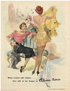 CELANESE LINGERIE AD  WOMEN'S FASHION Vintage Advertising  1951 Original Ad