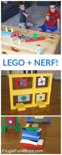 Some LEGO Nerf Targets! Build LEGO Nerf Targets - Fun building challenge for kids!Build LEGO Nerf Targets - Fun building challenge for kids! Kids Crafts, Projects For Kids, Diy Projects, Creative Crafts, Lego For Kids, Diy For Kids, Kids Fun, Kids Boys, Diy Kids Room
