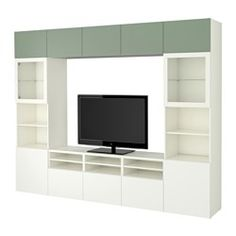 IKEA BESTÅ TV storage combination/glass doors White/selsviken high-gloss/white frosted glass cm The drawers and doors close silently and. Ikea Tv, Tv Storage, Storage Spaces, Extra Storage, Storage Systems, Tv Wand, Deco Studio, Muebles Living, Frame Shelf