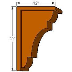 "12""D x 20""H New Brighton w/Backplate Rough Sawn or Smooth Solid Wood Corbel (Available in 6"" or 8"" Widths)"