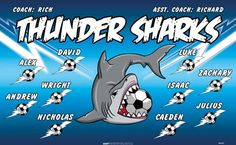 Sharks-Thunder-46435  digitally printed vinyl soccer sports team banner. Made in the USA and shipped fast by BannersUSA. www.bannersusa.com