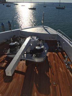 Completed new teak decking on bow of Superyacht  By Ideal Teak