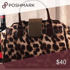 Animal print purse Black brown and cream Bags
