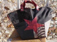 sac cabas en patchwork de noir et cuir bordeaux