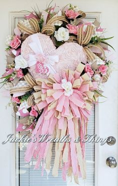 day gifts for friends about valentines day valentines day day gifts for girl day gift for girlfriend day 2020 history of valentines day day gifts girl Shabby Chic Hearts, Shabby Chic Wreath, Diy Valentines Day Wreath, Valentines Day Decorations, Wreath Crafts, Diy Wreath, Wreath Making, Wreath Ideas, Holiday Wreaths