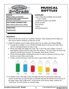 Musical Bottles - Fun Music and Science Activities for Kids  Just did this Friday with fifth graders....LOVED IT and they totally understand pitch now!