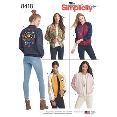 Misses' Lined Bomber Jacket With Fabric And Trim Variations, Casual Sportswear, Zip Front, Floral Appliqué - Simplicity Sewing Pattern 8418 Sewing Patterns Girls, Mccalls Sewing Patterns, Simplicity Sewing Patterns, Sewing Ideas, Sewing Projects, Sewing Box, Free Sewing, Boys Bomber Jacket, Patterned Bomber Jacket