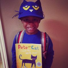 """Pete the Cat for storybook parade  Couldn't find a blue beanie cap or royal blue dye so we used a cap and I think it turned out great. My son said """"Mommy you can make anything!""""  Cap + Felt + Scissors & Glue Gun = Priceless Smiles from my son!"""
