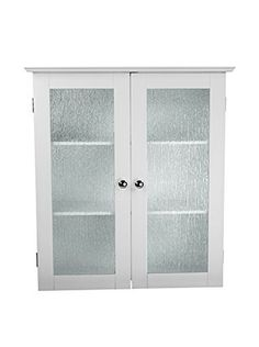 Elegant Home Fashions Connor Wall Cabinet with 2 Glass Doors, White